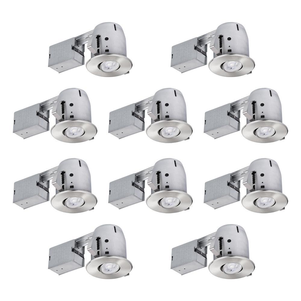 4 in. Brushed Nickel Recessed Lighting Kit (10-Pack)