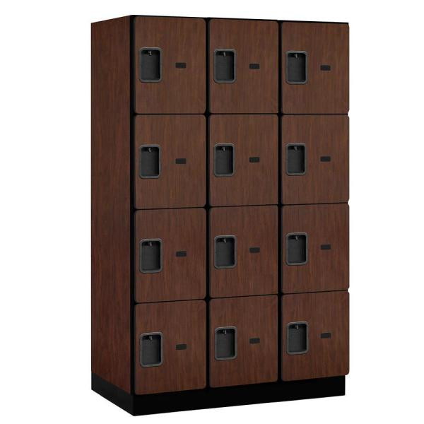 24000 Series 4-Tier 21 in. D 12-Compartments Extra Wide Designer Particle Board Locker in Mahogany