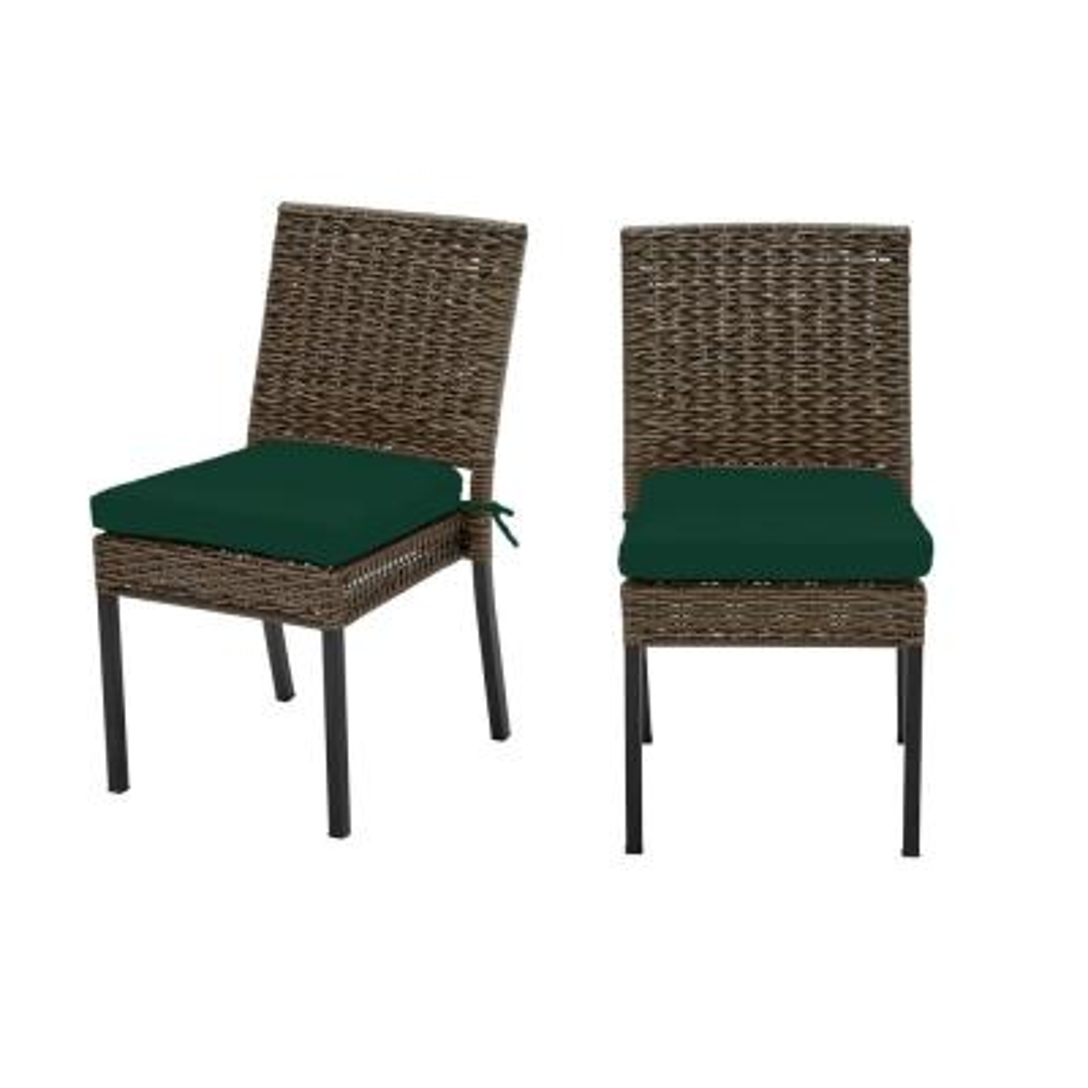 Laguna Point Brown 2-Piece Wicker Outdoor Patio Dining Chair with CushionGuard Charleston Blue-Green Cushions