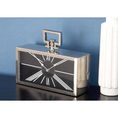 9 in. x 12 in. Classic Aluminium and Stainless Steel Rectangular Table Clock