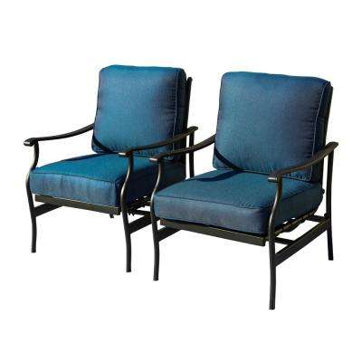Metal Outdoor Rocking Chair with Blue Cushions (2-Pack)