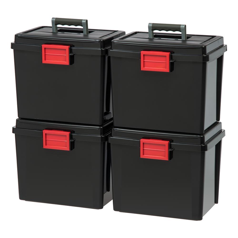 19 Qt. Portable Weathertight File Storage Box in Black (4-Pack)