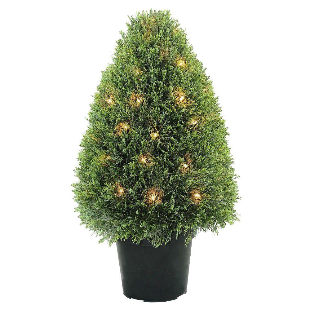 30 in. Upright Juniper Tree with Green Round Growers Pot with