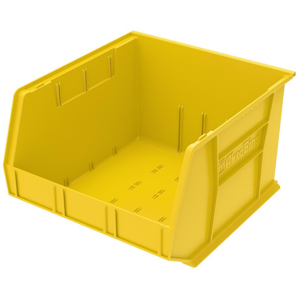 AkroBin 16.5 in. 75 lbs. Storage Tote Bin in Yellow with 11 Gal. Storage Capacity