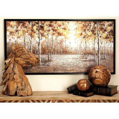 28 in. x 55 in. Autumn Trees and Leaves Hand-Painted Framed Canvas Wall Art