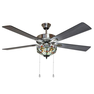 Wright 52 in. Satin Nickel Mission Stained Glass Ceiling Fan with Light