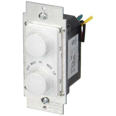 1.5 Amp 300-Watt Decora Single Pole Rotary Dimmer and Fan Speed Control, White/ Ivory/ Light Almond