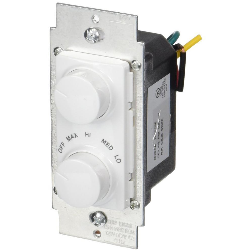 1.5 Amp 300-Watt Decora Single Pole Rotary Dimmer and Fan Speed Control, White/ Ivory/ Light Almond