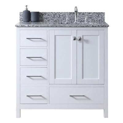 Caroline Madison 36 in. W Bath Vanity in White with Granite Vanity Top in Arctic White Granite with Round Basin