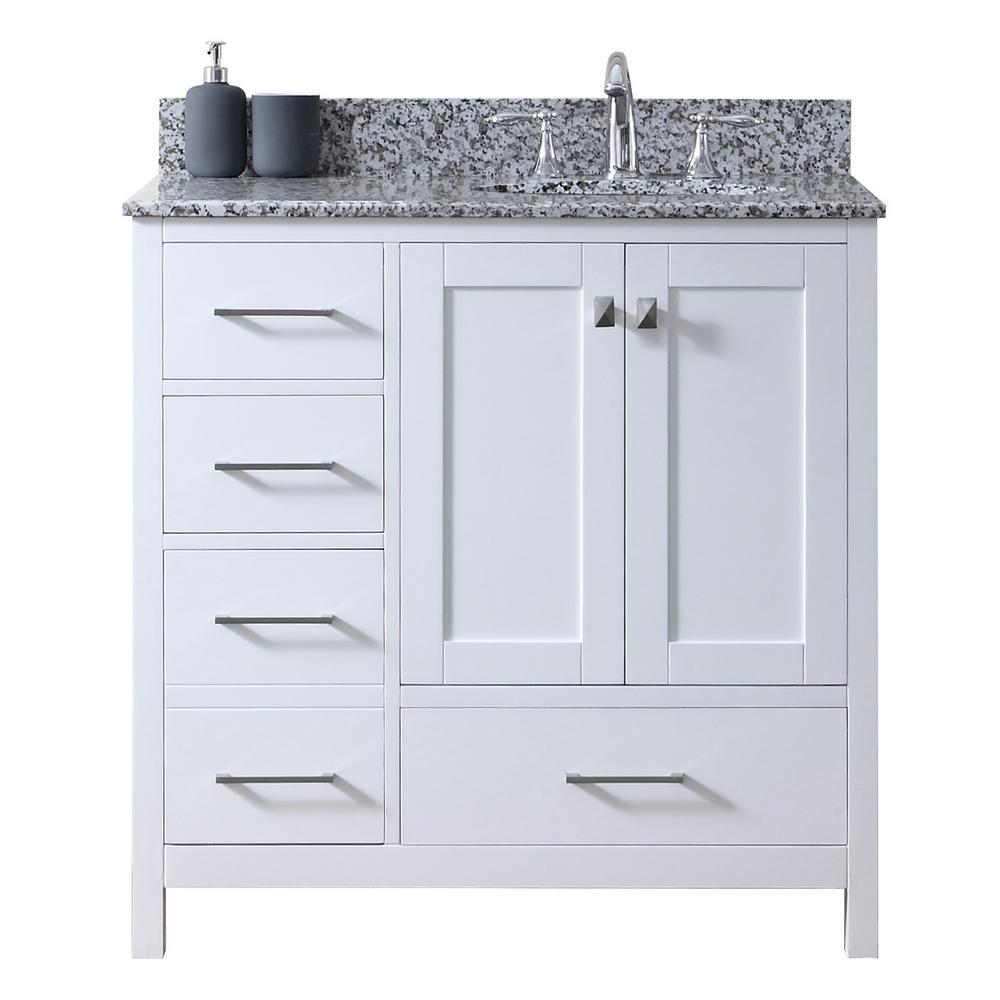 Caroline Madison 36 in. W Bath Vanity in White with Granite Vanity Top in Arctic White Granite with Round Basin