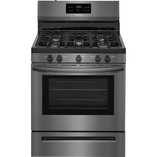 30 in. 5.0 cu. ft. Gas Range with Self-Cleaning Oven in Black Stainless Steel