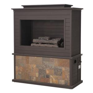 Sunjoy Farmington 42 In X 24 In Steel Faux Stone Outdoor Fireplace