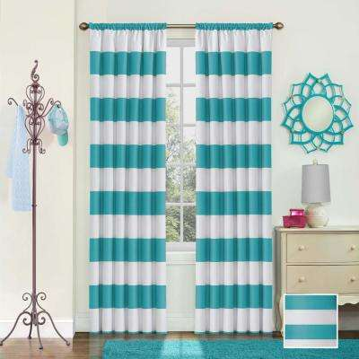 Peabody Blackout Window Curtain Panel in Teal - 42 in. W x 63 in. L