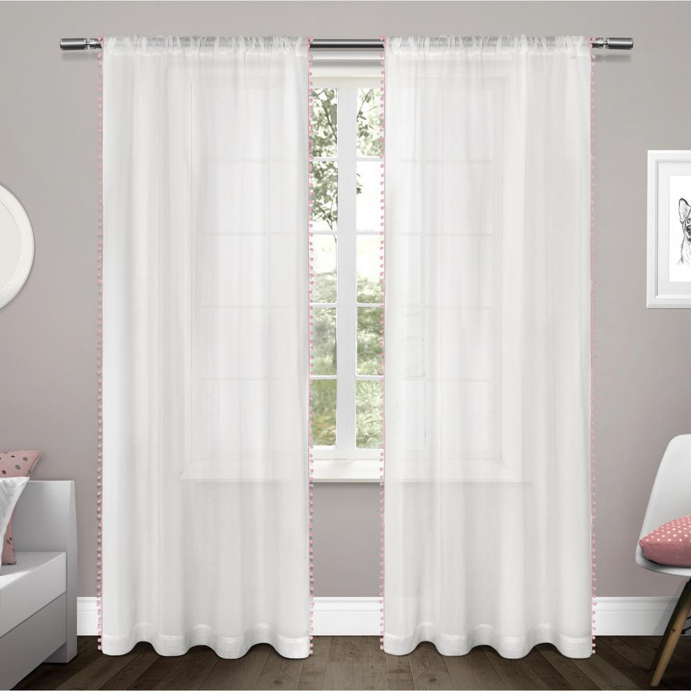 Pom Pom 54 in. W x 84 in. L Sheer Rod Pocket Top Curtain Panel in Bubble Gum (2 Panels)