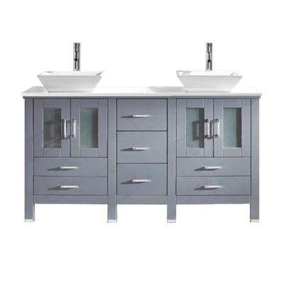 Bradford 60 in. W Bath Vanity in Gray with Stone Vanity Top in White Stone with Square Basin and Faucet
