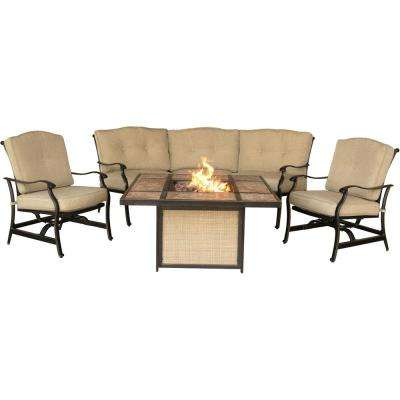 Concord 4-Piece Aluminum Outdoor Conversation Set with Tan Cushions and Tile-Top Fire Pit
