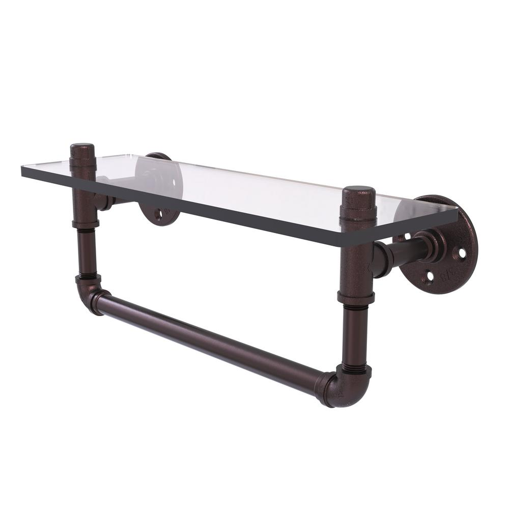 Pipeline Collection 16 in. Glass Shelf with Towel Bar in Antique