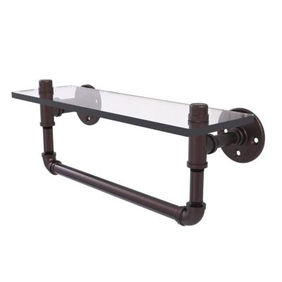 Pipeline Collection 16 in. Glass Shelf with Towel Bar in Antique Bronze
