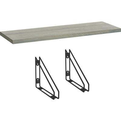 24 in. x 8 in. x 6 in. Grey Stained Solid Pine Decorative Wall Shelf with Matte Black Wire Frame Steel Brackets