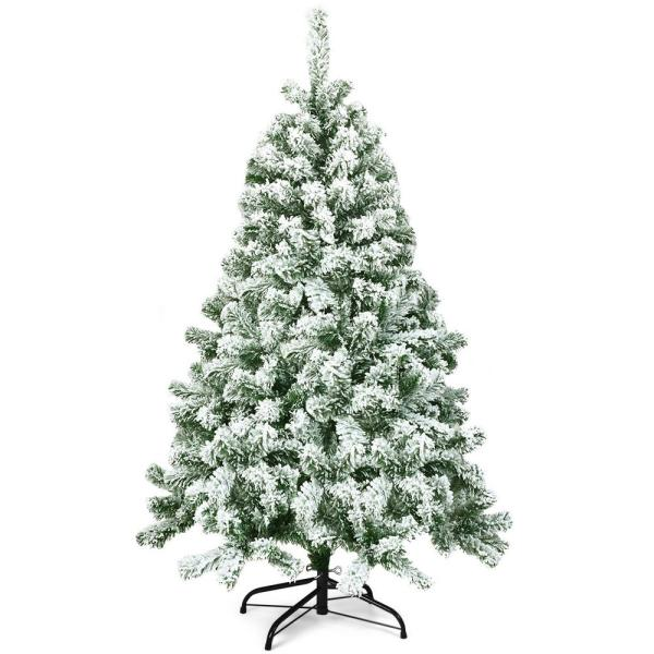 4.5 ft. Unlit Snow Flocked Hinged Pine Artificial Christmas Tree with 400 Branch Tips
