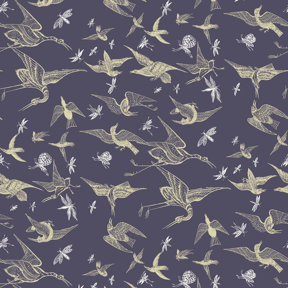 Nomad Collection Chasing Birds in Plum Premium Matte Wallpaper