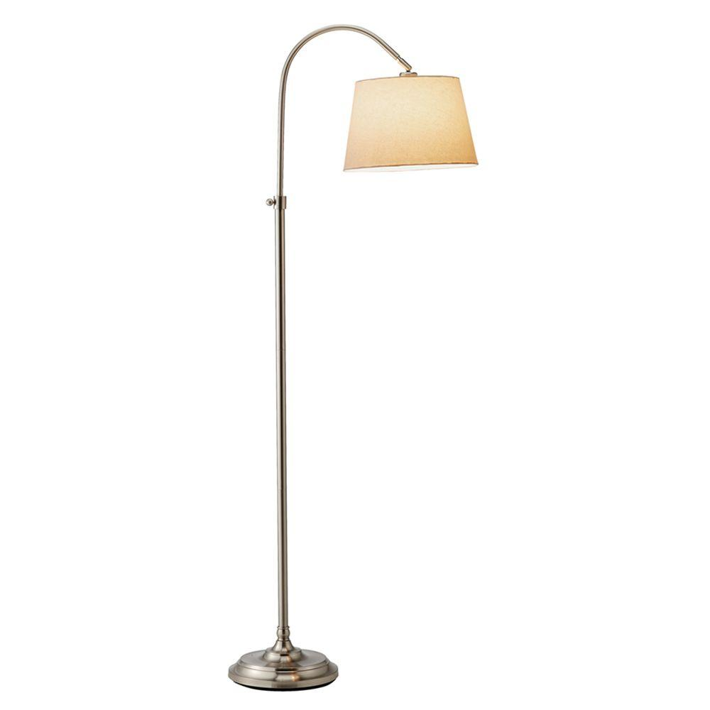 Adesso Bonnet 62 In Satin Steel Adjustable Floor Lamp