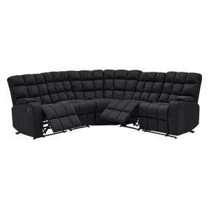 Black Microfiber 5-Seat Recliner Sectional with Wedge