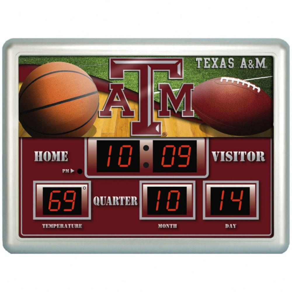 null Texas A&M University 14 in. x 19 in. Scoreboard Clock with Temperature