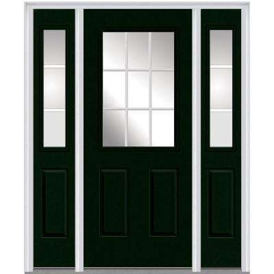 64 in. x 80 in. Internal Grilles Left-Hand Inswing 1/2-Lite Clear Painted Steel Prehung Front Door with Sidelites