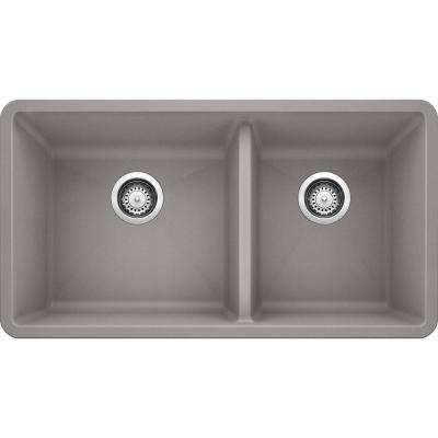 PRECIS Undermount Granite Composite 33 in. 60/40 Double Bowl Kitchen Sink in Metallic Gray