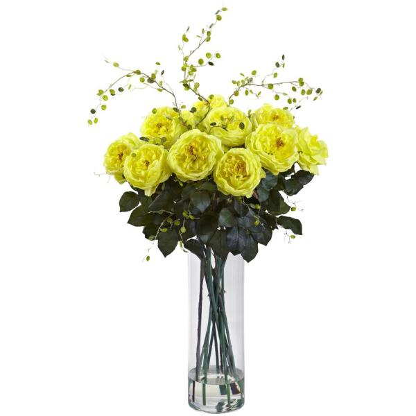 Nearly Natural 32 in. Giant Fancy Rose and Willow Arrangement in Yellow