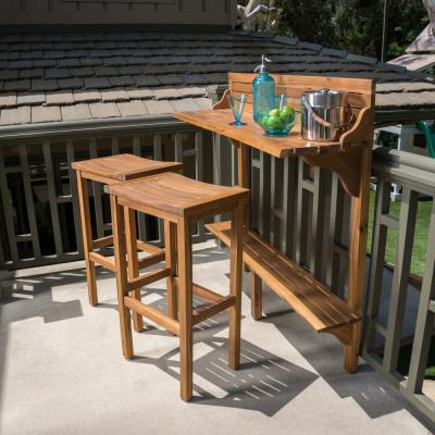 Adelaide Natural Stained 3-Piece Wood Rectangular Outdoor Serving Bar Set