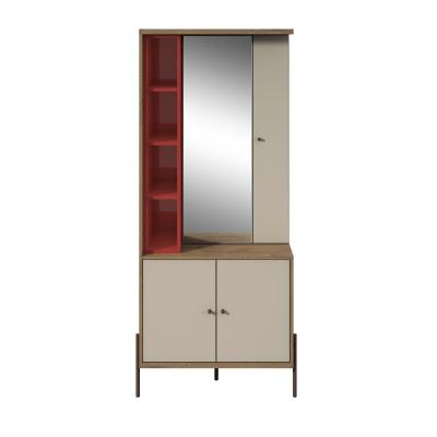 Joy Red and Off White Vanity Jewelry Armoire with Mirror