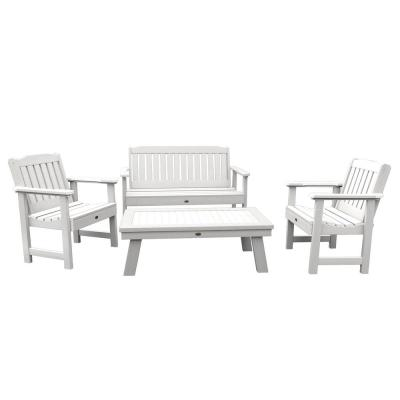 Lehigh White 4-Piece Recycled Plastic Outdoor Conversation Set