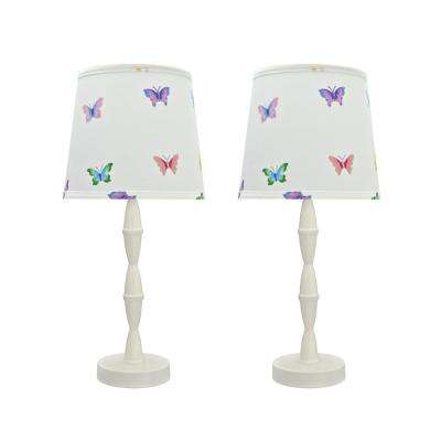 19-1/2 in. Cream White Wood Table Lamp with Metal Base and Hardback Empire Shaped Lamp Shade in White (2-Pack)