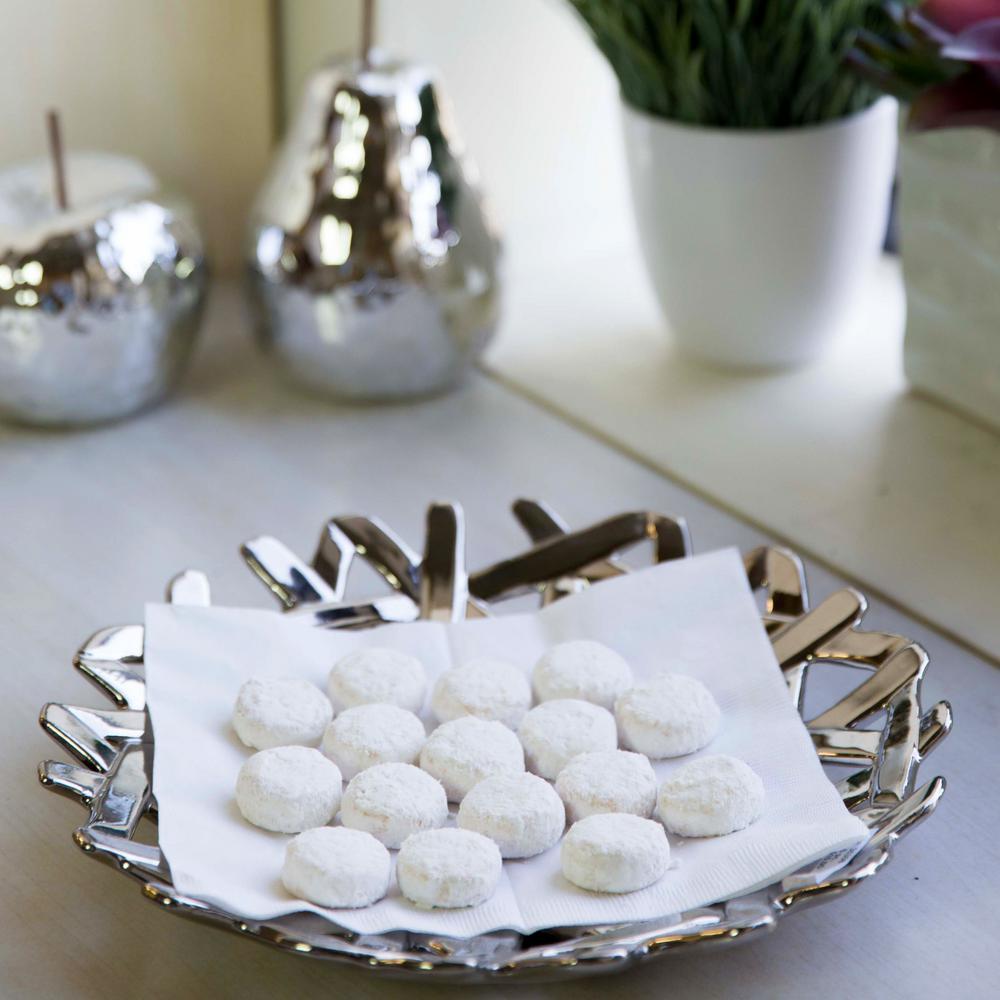 Silver Ceramic Decorative Tray