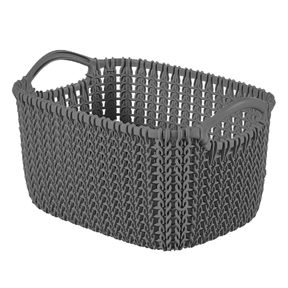 Knit Grey Small Plastic Storage Basket