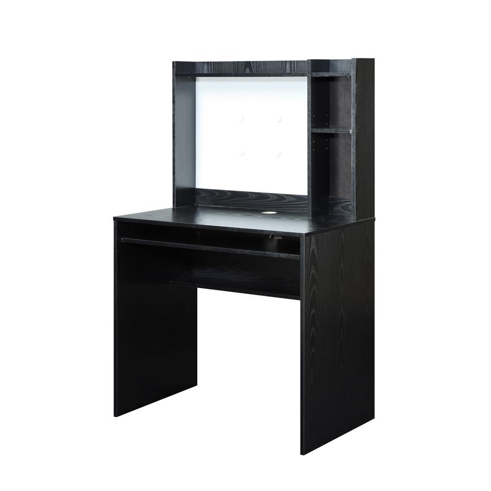 Designs2Go Black Desk with Magnetic Bulletin Board