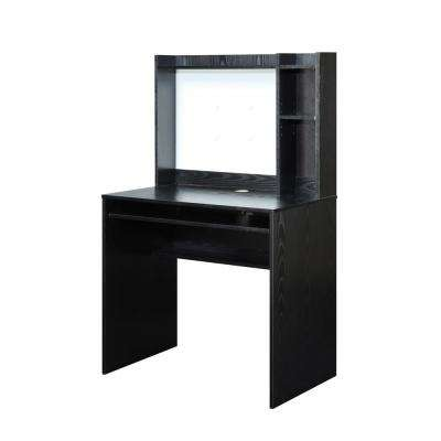 Designs2Go Black Desk with Magnetic Bulletin Board