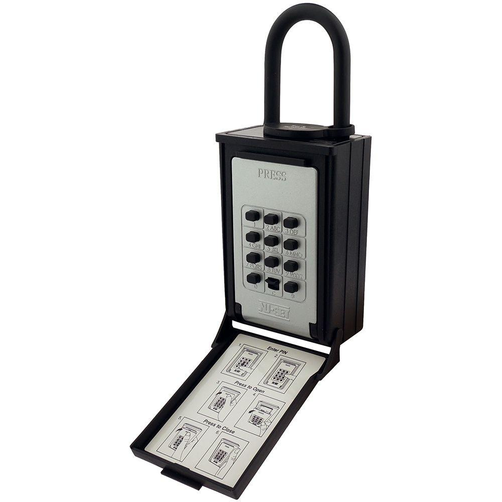 NUSET Key/Card Storage Push Button Lockbox with Combination Locking Shackle, Black