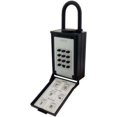 Key/Card Storage Push Button Lockbox with Combination Locking Shackle, Black