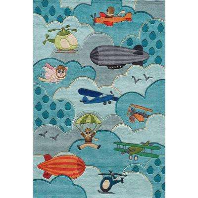 Caprice Collection Sky Blue 4 ft. x 6 ft. Indoor Area Rug