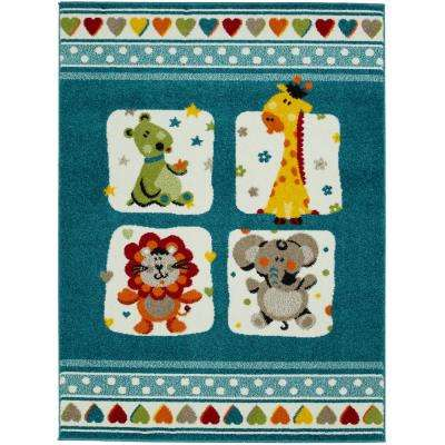 Multi Color Kids and Children Bedroom and Playroom Blue Nursery Animal Friends 4 ft. x 5 ft. Area Rug