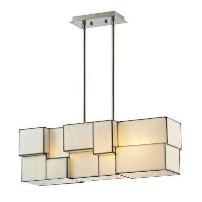 Braque Collection 4-Light Brushed Nickel Chandelier With White Tiffany Cube Glass Shade