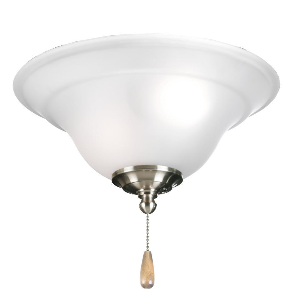 Progress Lighting Trinity Collection 3-Light Brushed Nickel Ceiling Fan Light