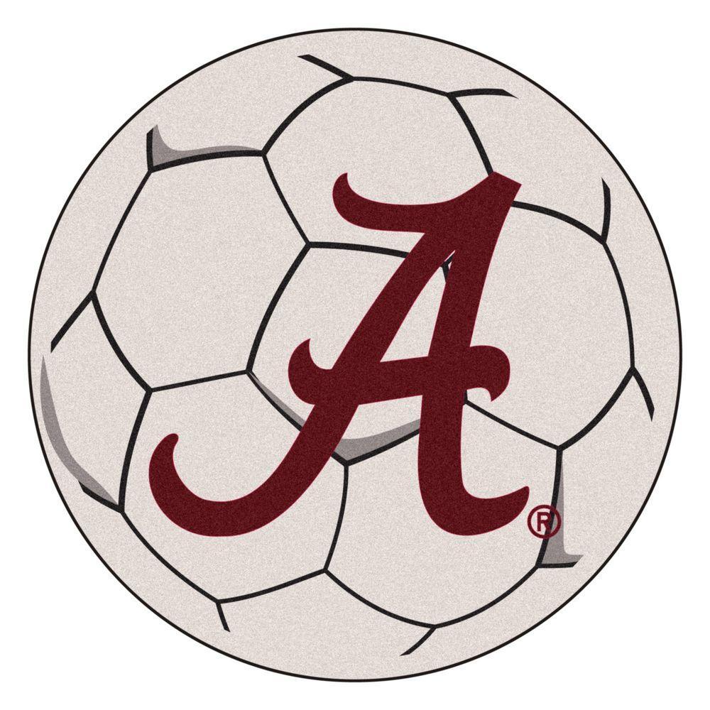 NCAA University of Alabama Crimson A Logo Cream 2 ft. x 2 ft. Round Area Rug