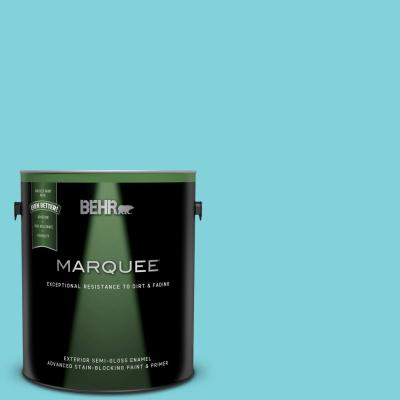 Behr Marquee 1 Gal 500b 4 Gem Turquoise Semi Gloss Enamel Exterior Paint And Primer In One 545401 The Home Depot