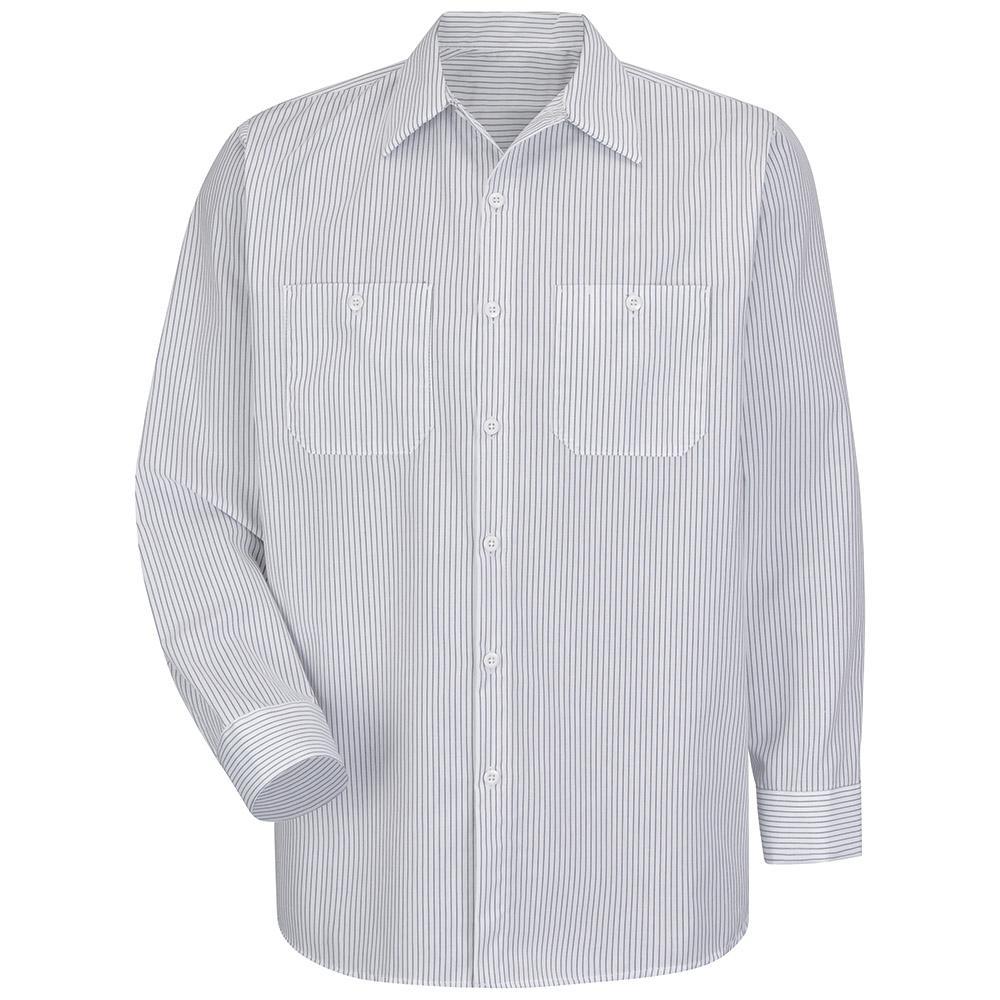 Men's Size 2XL (Tall) White/Charcoal Stripe Industrial Stripe Work Shirt