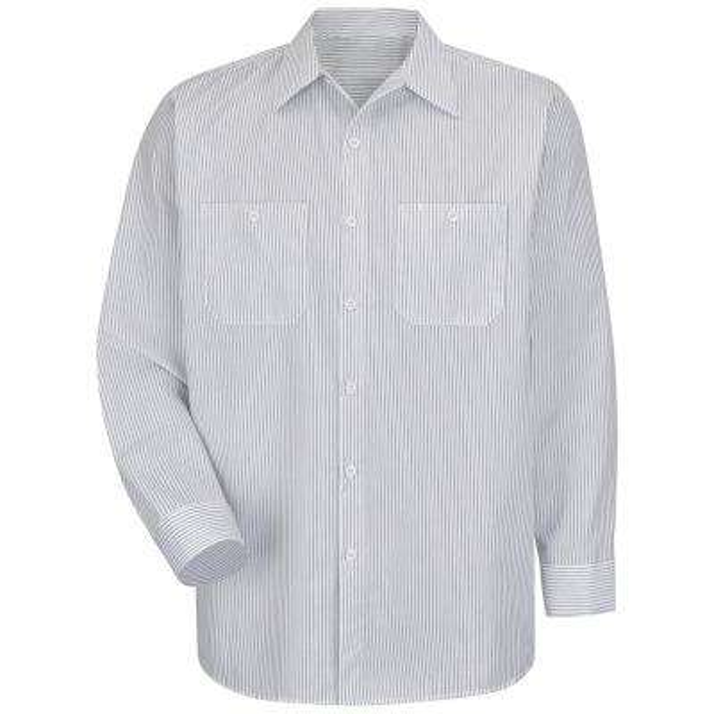 Men's Size L White/Charcoal Stripe Industrial Stripe Work Shirt