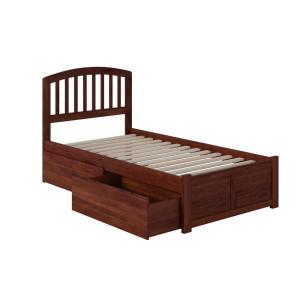 Richmond Walnut Twin Platform Bed with Flat Panel Foot Board and 2-Urban Bed Drawers